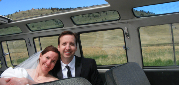 Hippie Limo - Bride and Groom - Couple Cuddle - Boulder Foothills Community Park