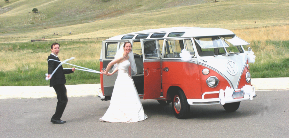 Hippie Limo - Bride and Groom - Reel Him In - Boulder Community Foothills Park