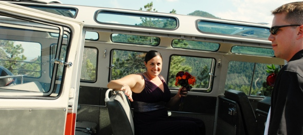 Hippie Limo - Amy & Tim's Wedding - Bride and Groom: Sunrise Amphitheater - All Aboard