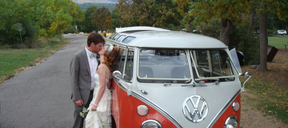 Hippie Limo - Jehnna and Michael Mahoney – Bride and Groom - Boulder Chautauqua – A Romantic Kiss