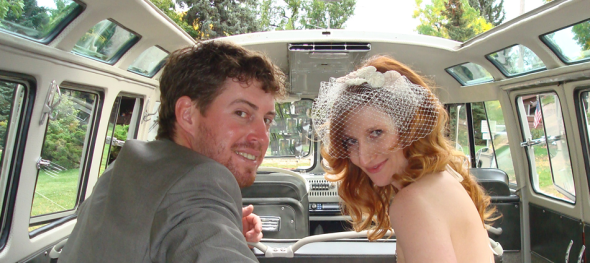Hippie Limo - Jehnna and Michael Mahoney Wedding – Bride and Groom - Boulder Chautauqua – Happy (and Sly) Smiles