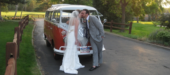 Lauren & Brent's Wedding - The Kissing Path - Boulder Country Club - The Hippie Limo