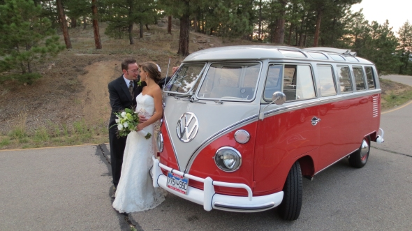 Adrianna & Ryan's Wedding: Boulder Sunrise Amphitheater - Into One Another's Eyes - The Hippie Limo