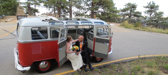 Juliana & Brian's Wedding: Boulder Sunrise Amphitheater - The Road Ahead - The Hippie Limo
