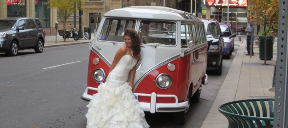 Miriah & Dale's Wedding - Quick Pose Outside The Curtis - The Hippie Limo - The Curtis Hotel in Denver