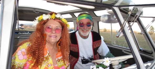 The Hippie Limo - Jim Hogan's 70th Birthday - The Groovy Couple - Frogbelly Farm