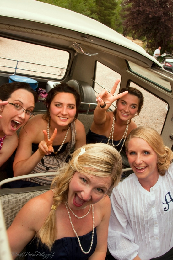 Annie & Brandon's Wedding - The Chapel at Red Rocks and The Golden Hotel - The Ladies Are Happy - The Hippie Limo